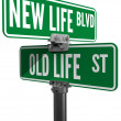 New or Old Life street signs choice — Stok fotoğraf