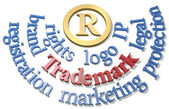 Trademark words around IP R symbol — Stock Photo