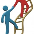 People help join up success ladder — Stockfoto