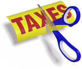 Scissors cut high unfair Taxes — Stock Photo