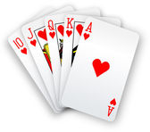 Poker cards Straight Flush hearts hand — Stock Vector