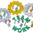 Teamwork people join in gears — Stockfoto