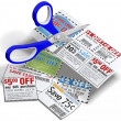 Coupon scissors cut out sale coupons — Foto Stock