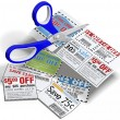 Coupon scissors cut out sale coupons — Stockfoto