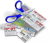 Coupon scissors cut out sale coupons — Stock Photo