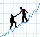 Business team help chart company growth — Stock Vector