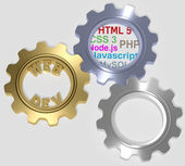 Webdev PHP HTML SQL CSS Gears — Stock Photo