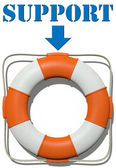 Point to Lifebuoy Support find help — Foto Stock
