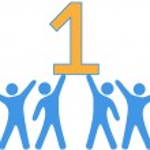 Number 1 Team people celebrate big win — Stock Vector