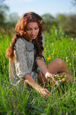 Beauty girl on the meadow — Stock Photo