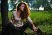 Beauty girl outdoors — Stock Photo