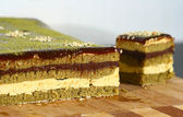 Matcha tea Opera cake — Stock Photo