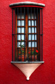 Old window with grille — Stock Photo