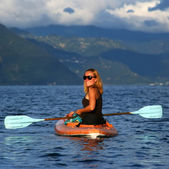 Young woman in the kayak — Stock Photo