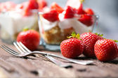 Strawberry dessert in a glass bowl — Stock Photo