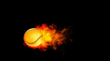 Baseball fireball in flames on black background — Stock Video