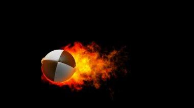 Rugby feuerball in flammen auf schwarzem hintergrund — Stockvideo