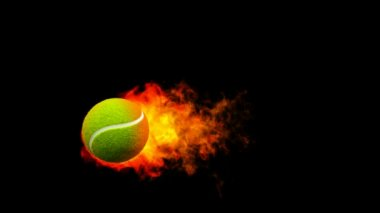 Tennis fireball in flames on black background — Stock Video
