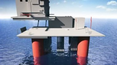Construction of the oil platform — Stock Video
