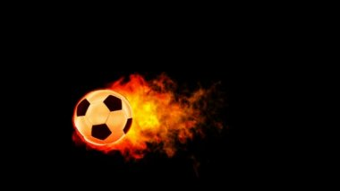 Soccer fireball in flames on black background, HD render with alpha channel — Stock Video