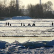 Stock Video: Floating of ice on river