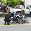 Policeman at the scene of motorbikes crash — Stock Video