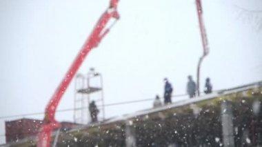 Construcción de invierno — Vídeo de stock