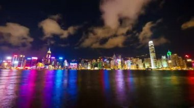 Hong Kong at night. Timelapse — Stock Video