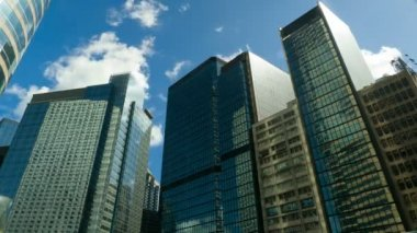 HONG KONG - SEPTEMBER 3: Skyscrapers over blue sky, timelapse, September 3, 2012, Hong Kong. — Stock Video