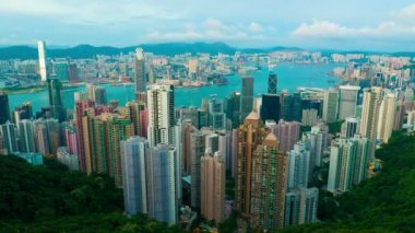 Sunset at Hong Kong from Victoria peak, timelapse — Stock Video