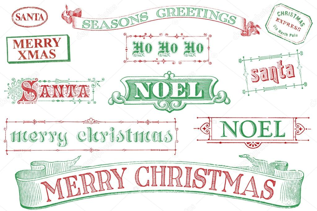 A set of distressed, old-style red and green Christmas-themed stamps. Similar in style to imprints from the 1800s.  Isolated on white. — Stock Photo #13886707