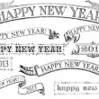 Vintage Style Happy New Year Banners — Foto de Stock