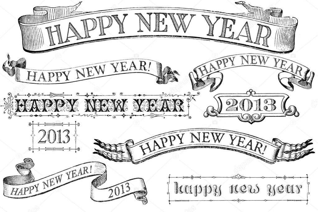 A set of distressed, old-style Happy New Year stamps for 2013. Similar in style to imprints from the 1800s.  Isolated on white.  Stock Photo #14129645