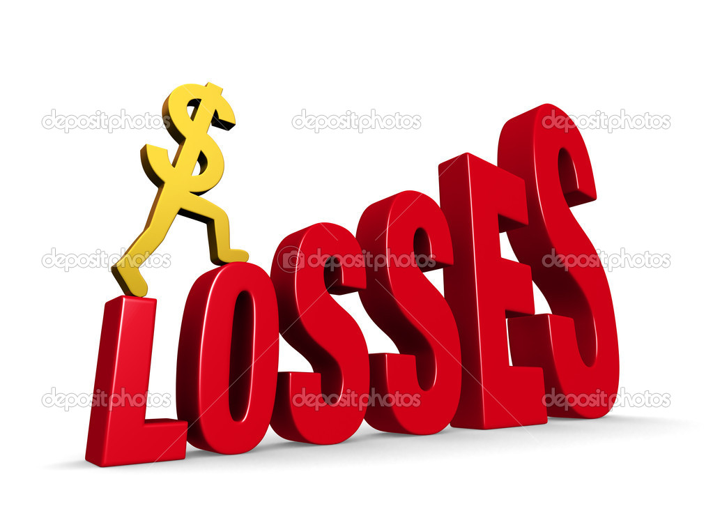 "A gold dollar sign climbing steps forming the word, ""LOSSES"". On white with drop shadow. — Stock Photo #15730195"