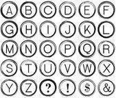 Grunge 字母表从老式打字机键 — 图库照片
