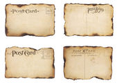 Four Burned, Vintage Post Cards — Stockfoto
