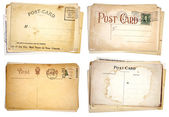 Four Stacks of Blank, Vintage Postcards — Stock Photo