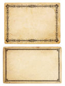 Two Vintage Cards with Ornate Borders — Stok fotoğraf