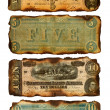 Old, Burned Confederate Five and Ten Dollar Bills — Stock Photo #47227817