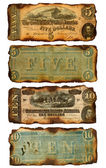 Old, Burned Confederate Five and Ten Dollar Bills — Foto Stock