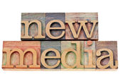 New media in wood type — Stock Photo
