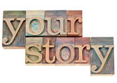 Your story text in wood type — Stock Photo