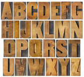 Antike alphabet inmitten von holz-art — Stockfoto