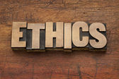 Ethics word in wood type — Stock Photo