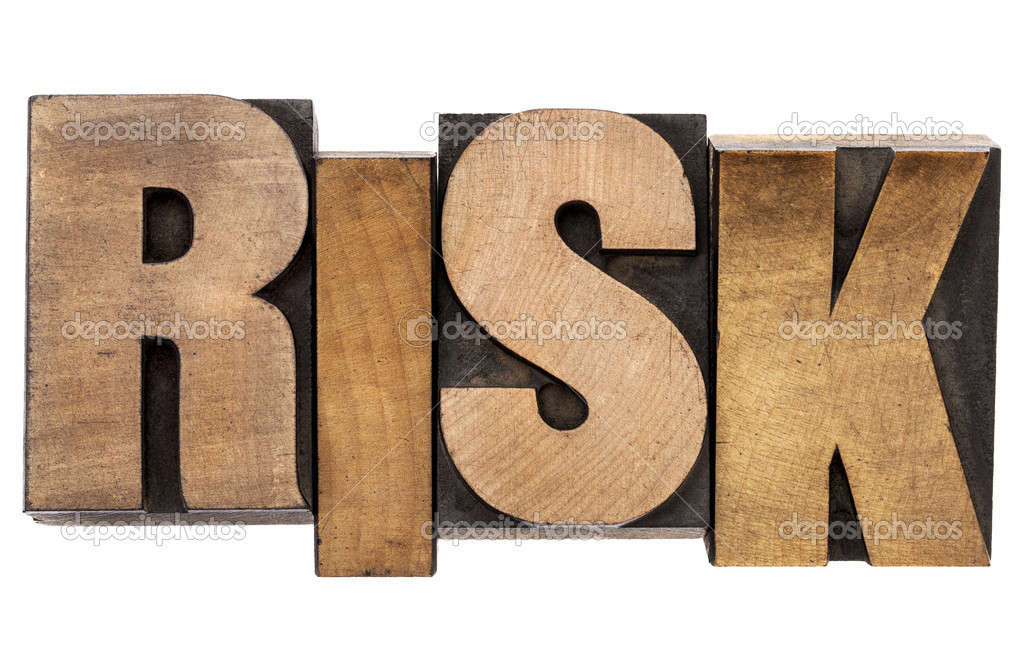 Risk - isolated word in vintage letterpress wood type  Stock Photo #12776175