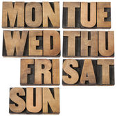 Days of week in wood type — Stock Photo