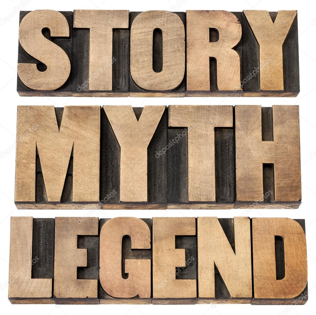 Story, myth, legend - storytelling concept -  isolated words in vintage letterpress wood type — Stock Photo #12859829