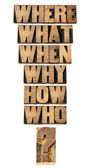Questions collage in wood type — Stock Photo