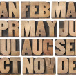 Calendar concept - months in wood type - Stock Photo