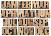 Calendar concept - months in wood type — Stock Photo